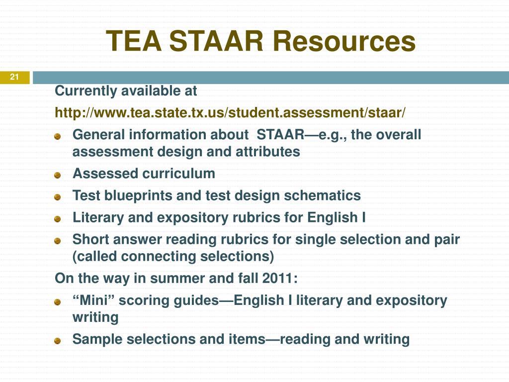 TEA STAAR Resources