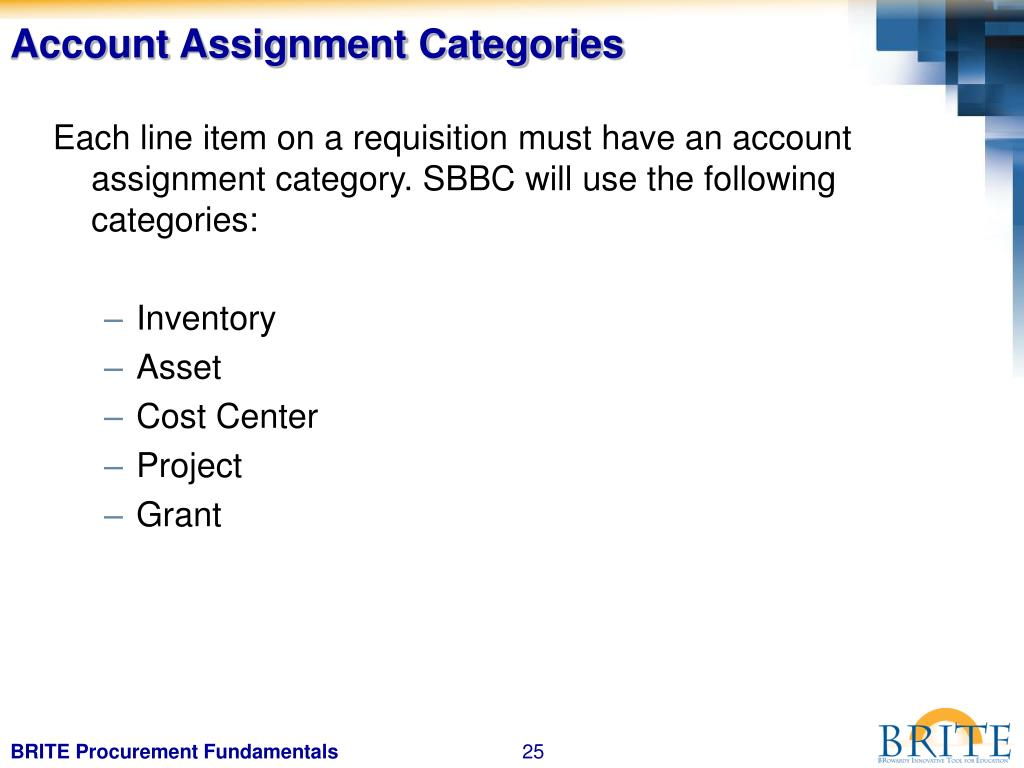 Account Assignment Categories