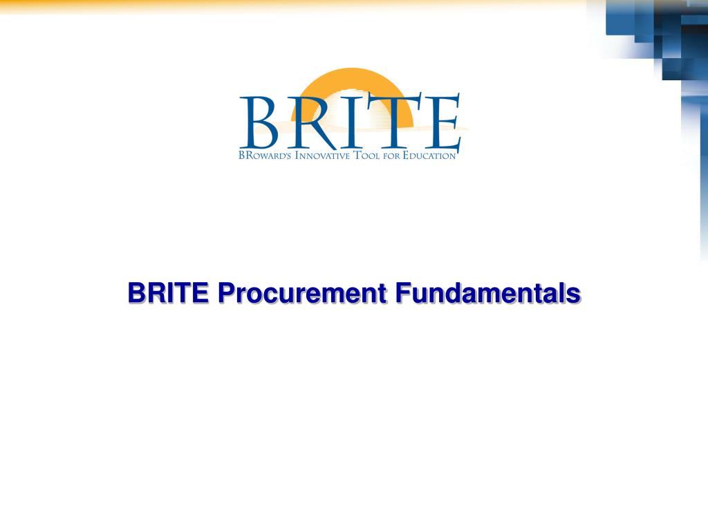 BRITE Procurement Fundamentals