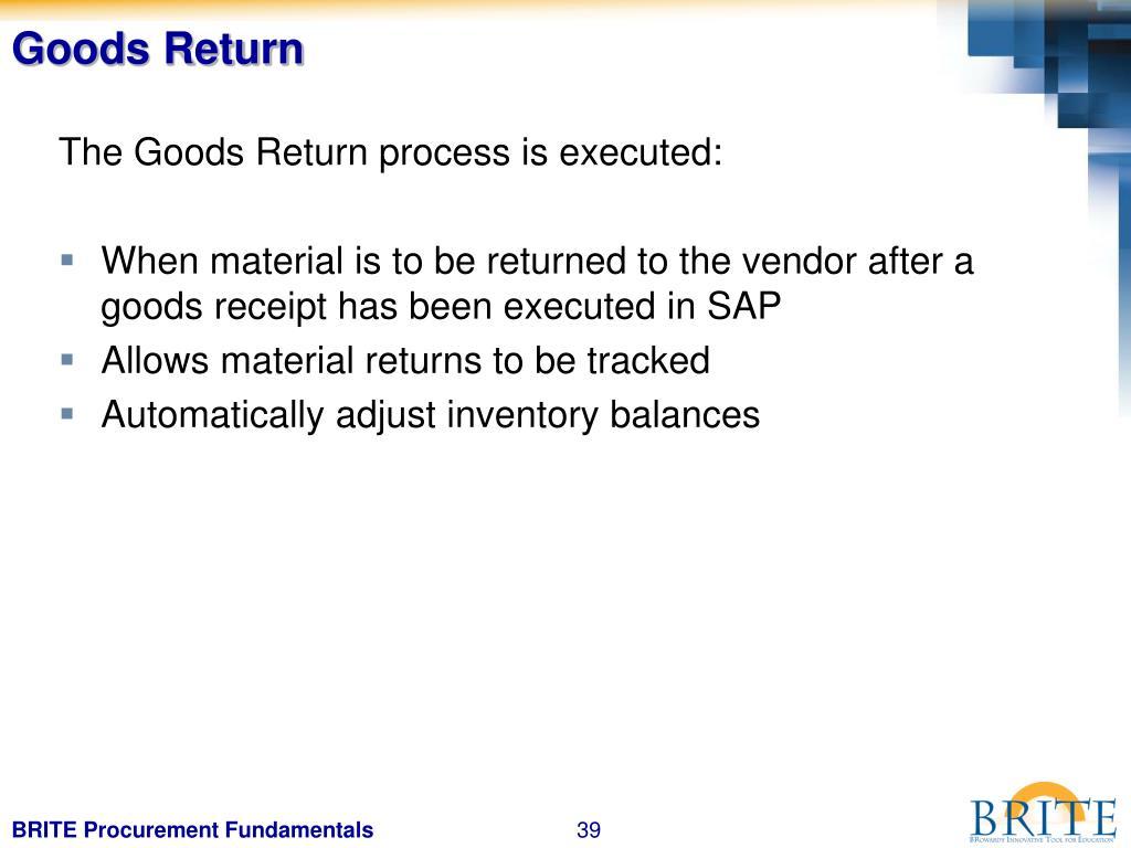 Goods Return