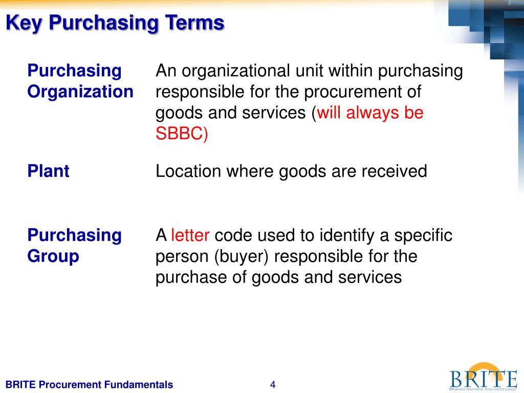 Key Purchasing Terms