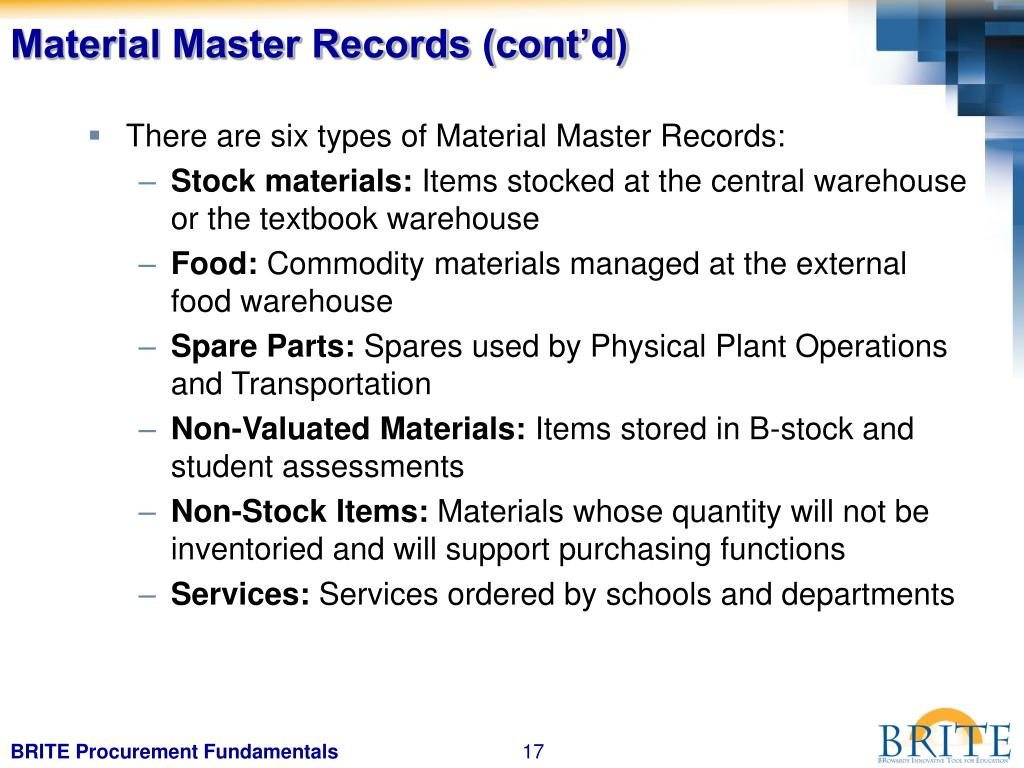 Material Master Records (cont'd)