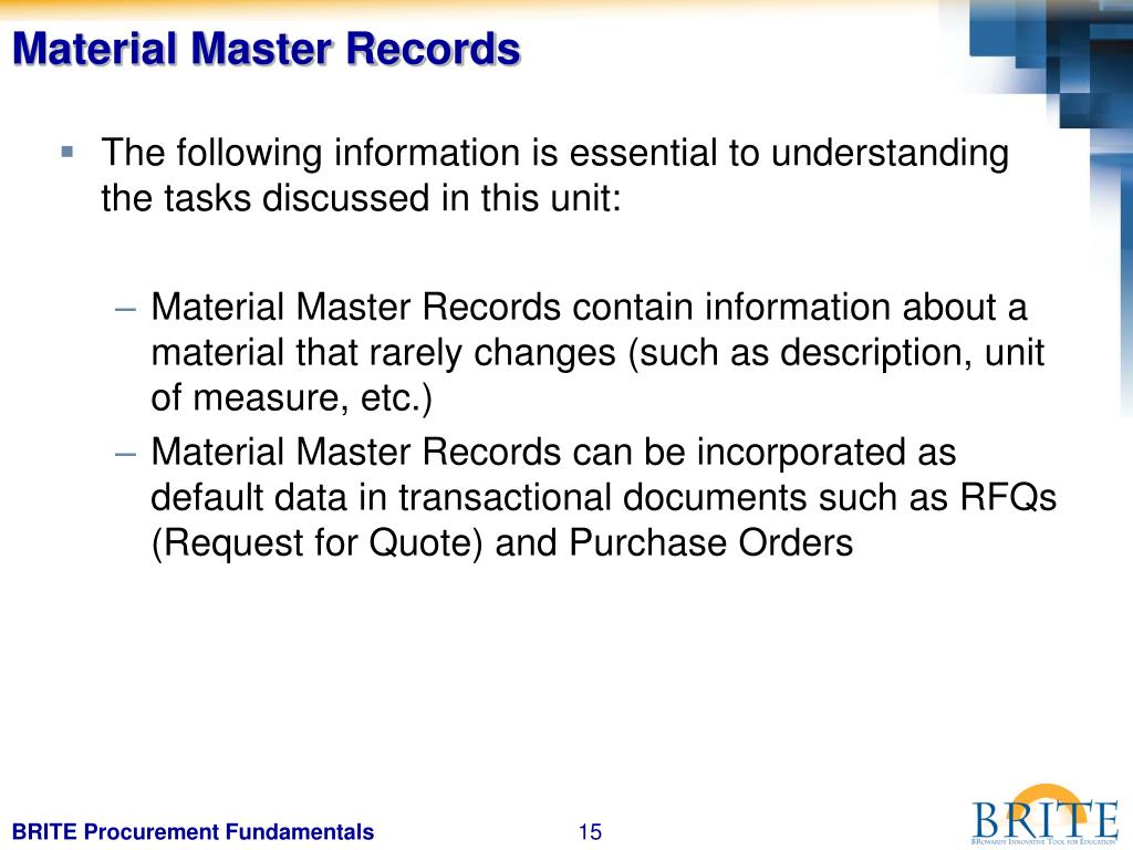 Material Master Records