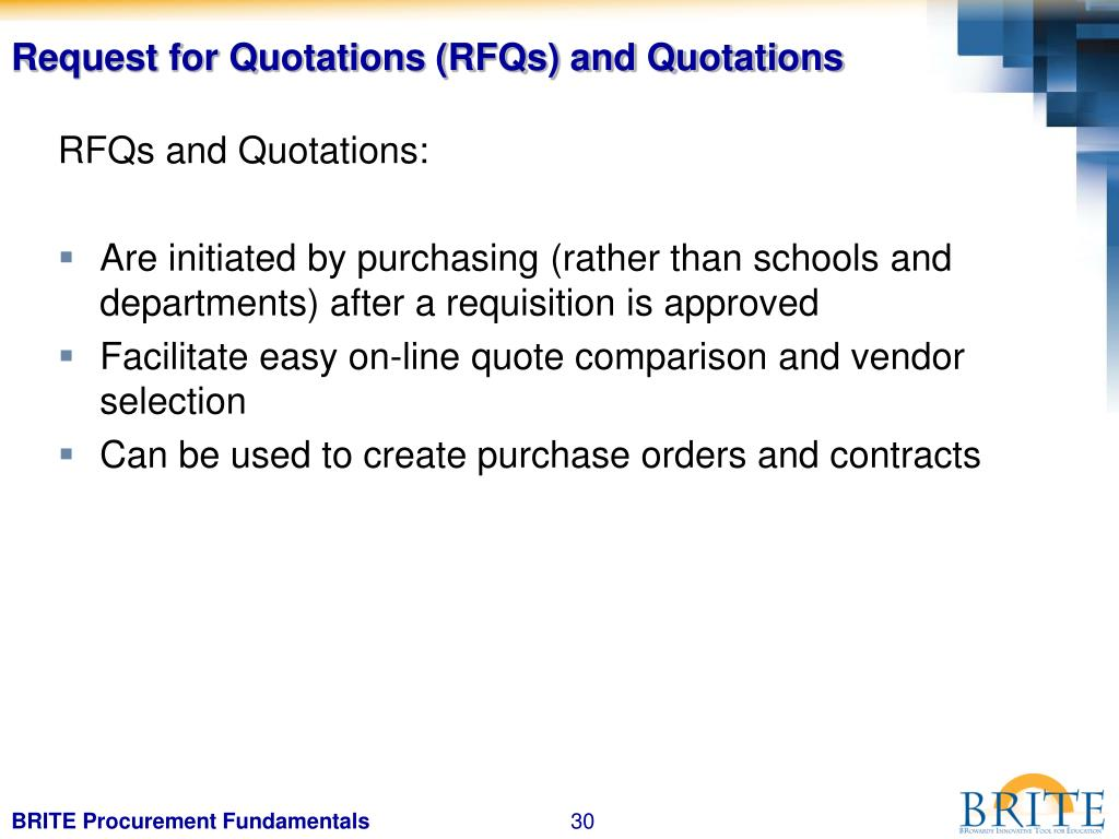 Request for Quotations (RFQs) and Quotations