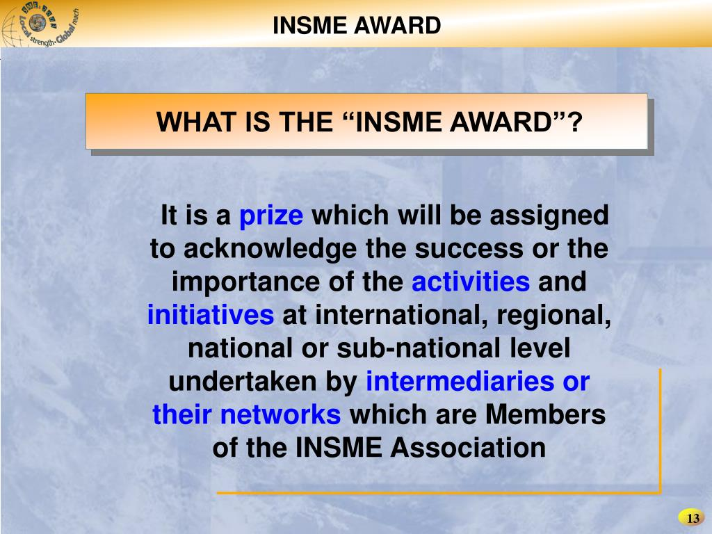 INSME AWARD