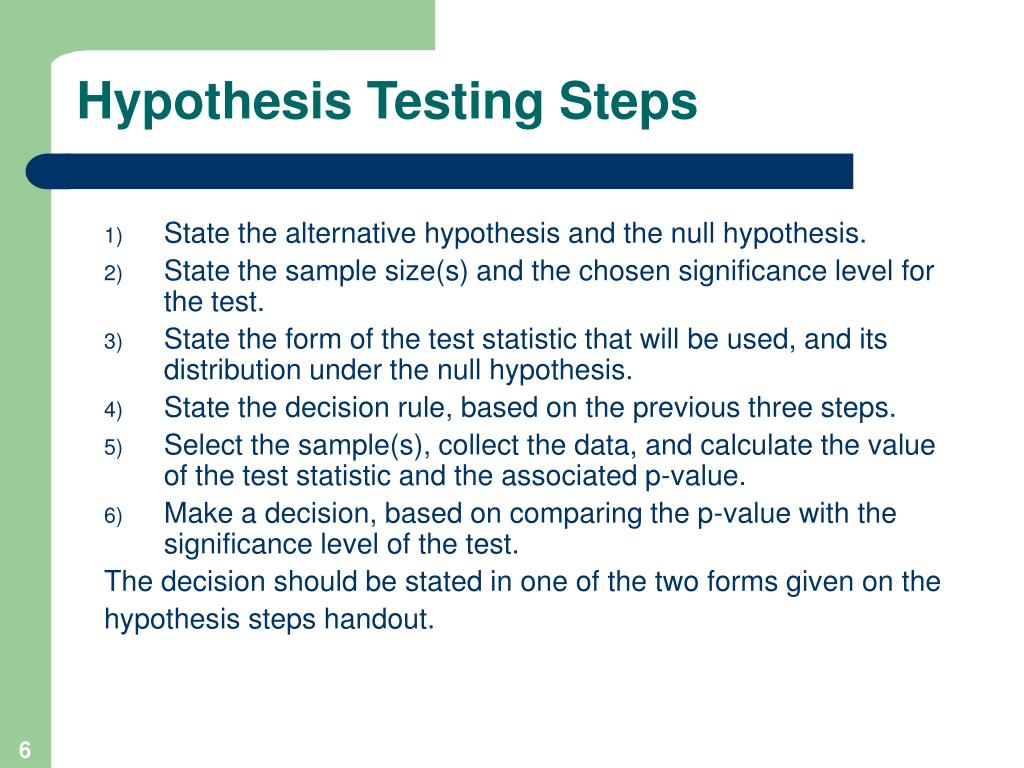 lind five step statistical hypothesis testing procedure Hypothesis testing understanding of hypothesis testing the textbook explained the aspects and steps of hypothesis testing in a legible fashion, while the video.