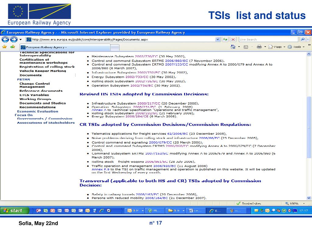 TSIs  list and status