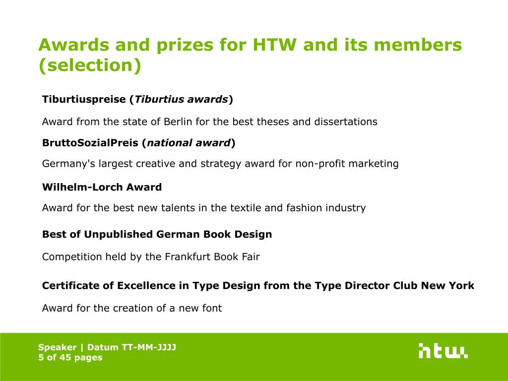 Awards and prizes for HTW and its members (selection)