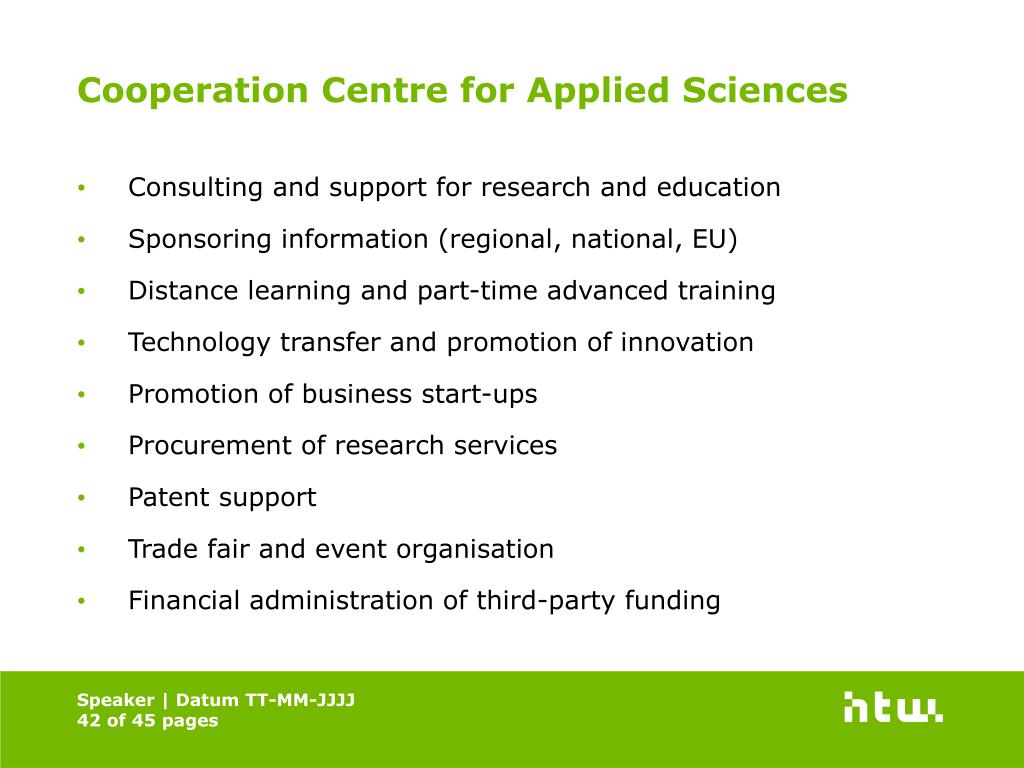 Cooperation Centre for Applied Sciences