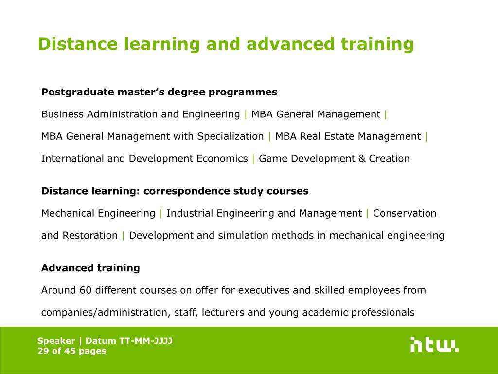 Distance learning and advanced training