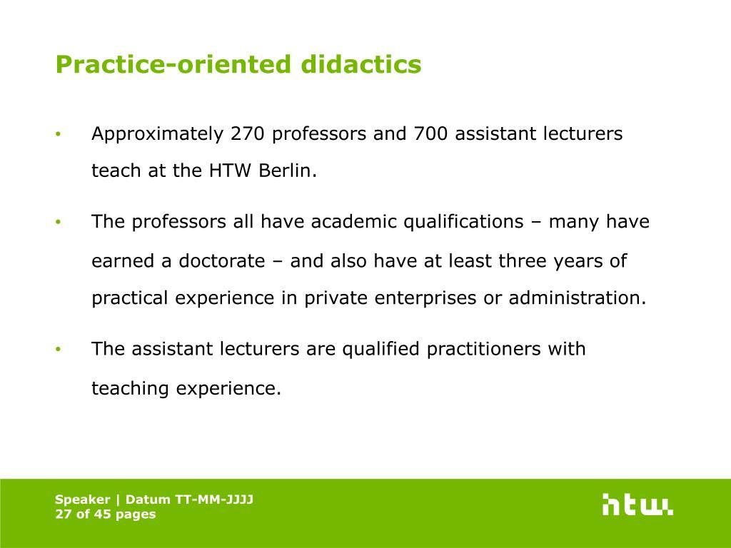 Practice-oriented didactics
