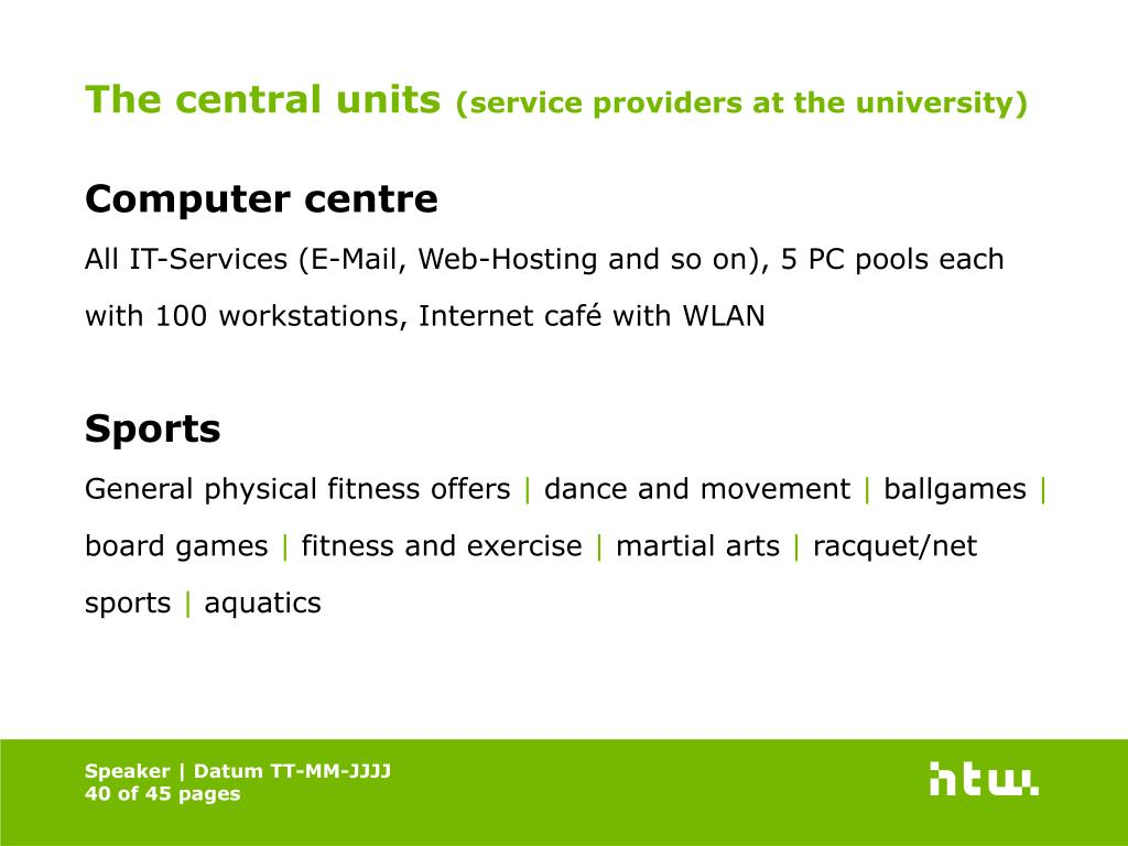 The central units