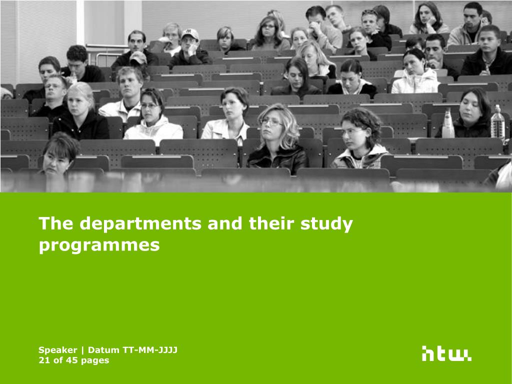The departments and their study programmes