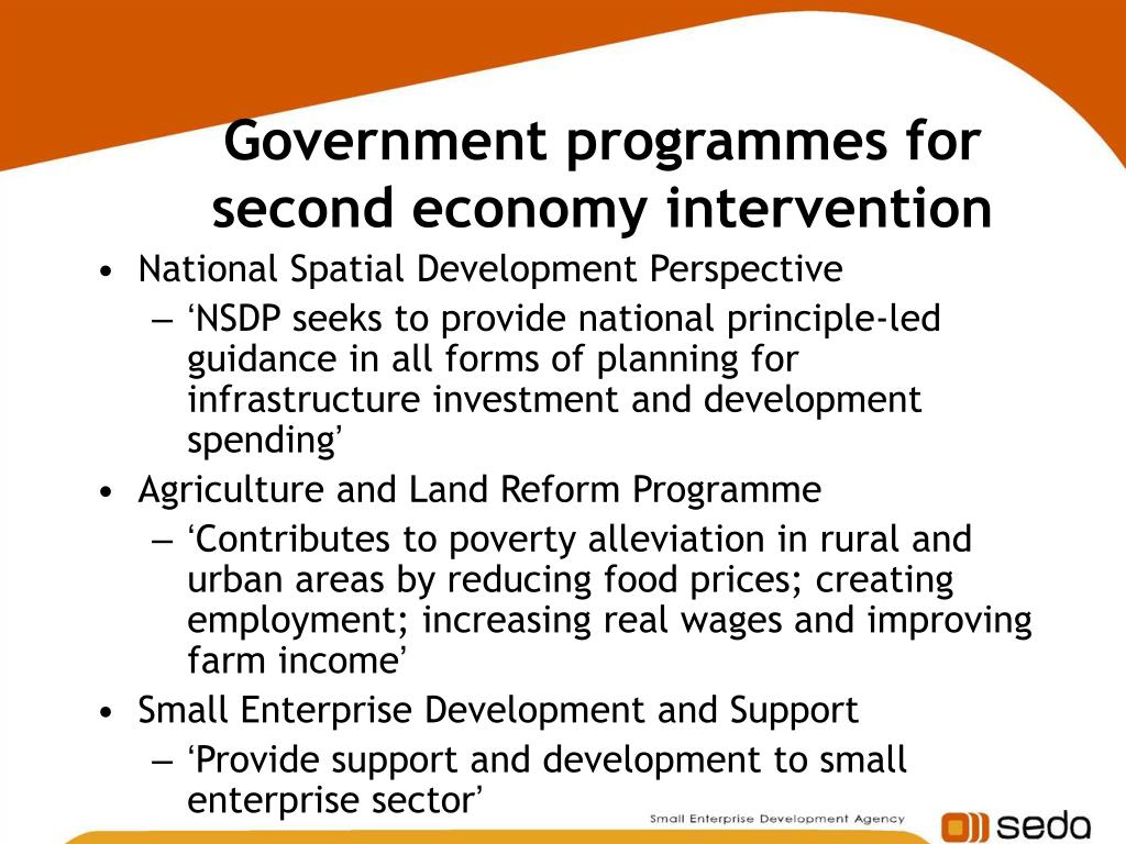 Government programmes for second economy intervention