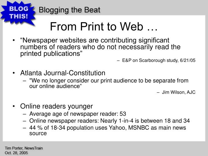 From Print to Web …