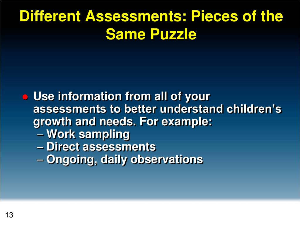 Different Assessments: Pieces of the Same Puzzle
