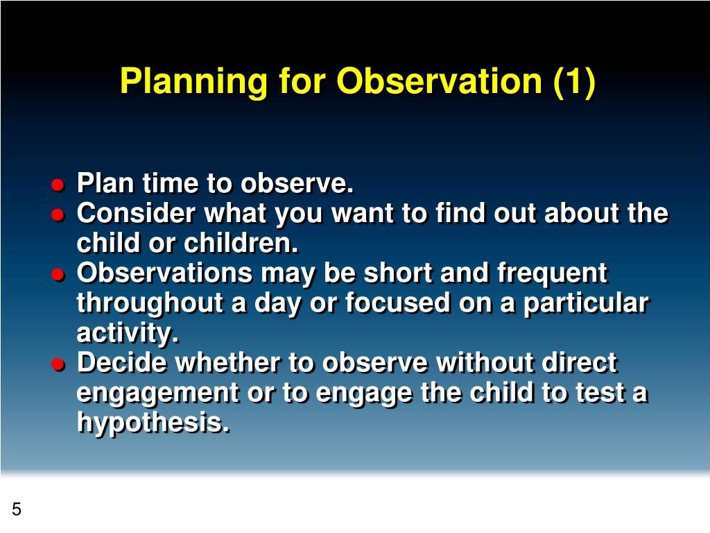 Planning for Observation (1)