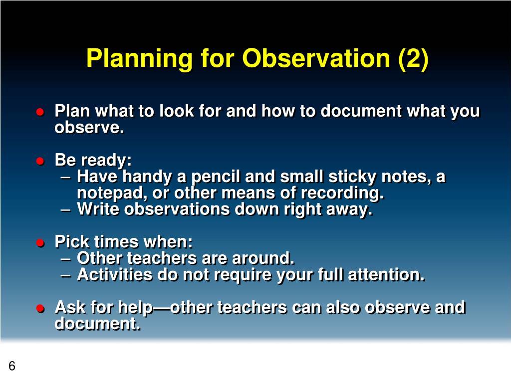Planning for Observation (2)