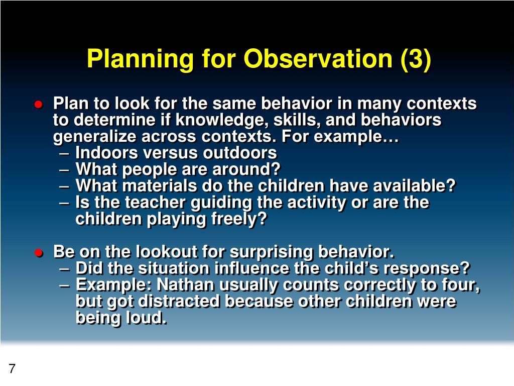 Planning for Observation (3)