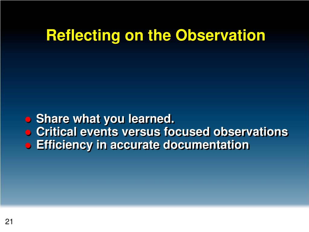 Reflecting on the Observation
