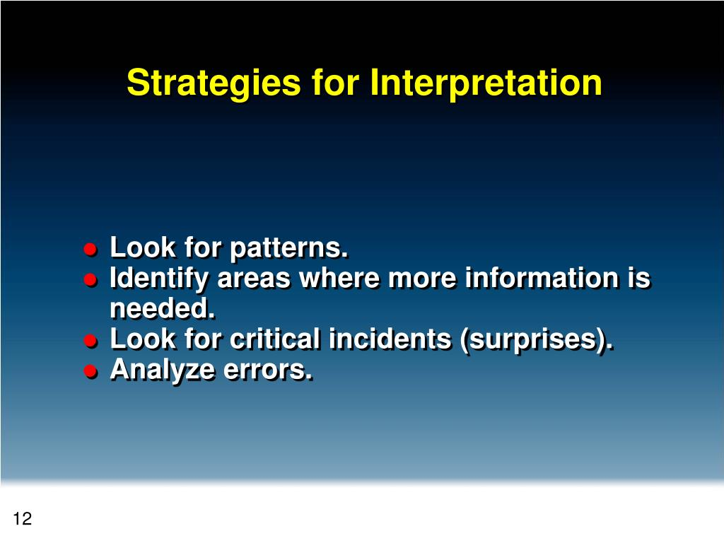 Strategies for Interpretation