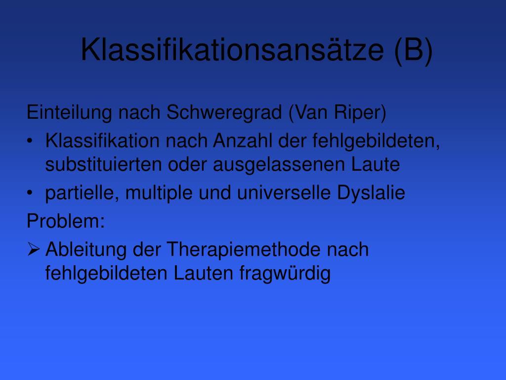 Klassifikationsansätze (B)