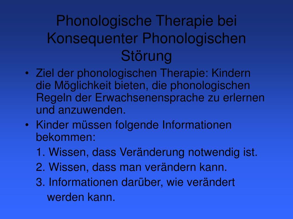 Phonologische Therapie bei Konsequenter Phonologischen Störung