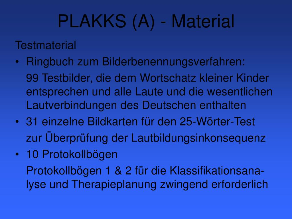 PLAKKS (A) - Material