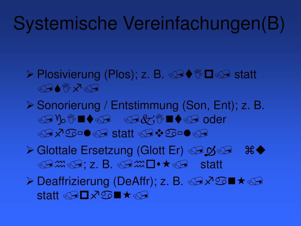 Systemische Vereinfachungen(B)