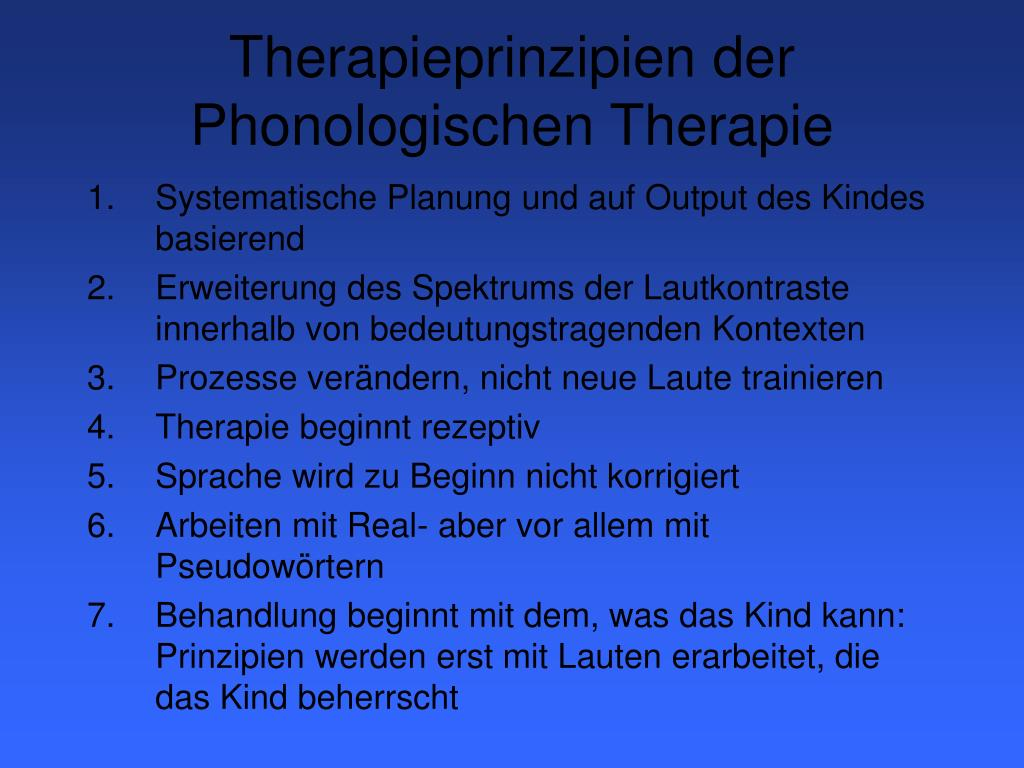 Therapieprinzipien der Phonologischen Therapie