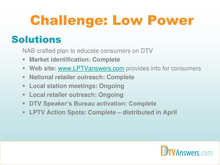 Challenge: Low Power