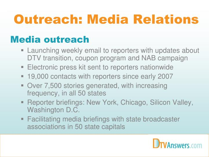 Outreach: Media Relations