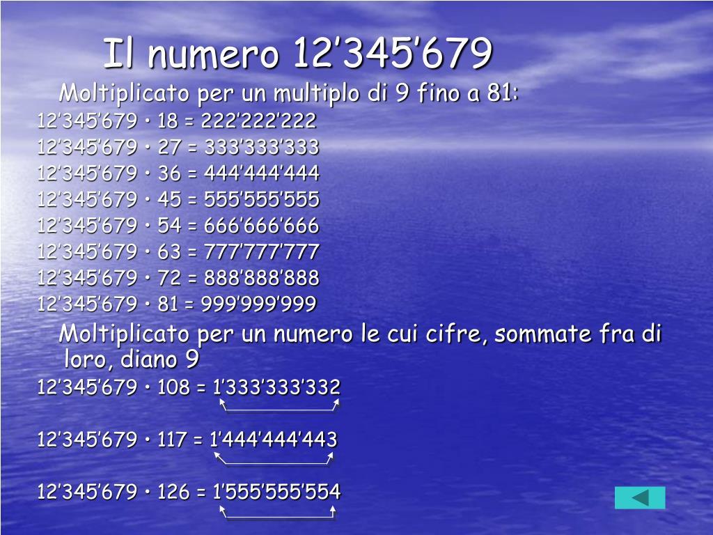 Il numero 12'345'679