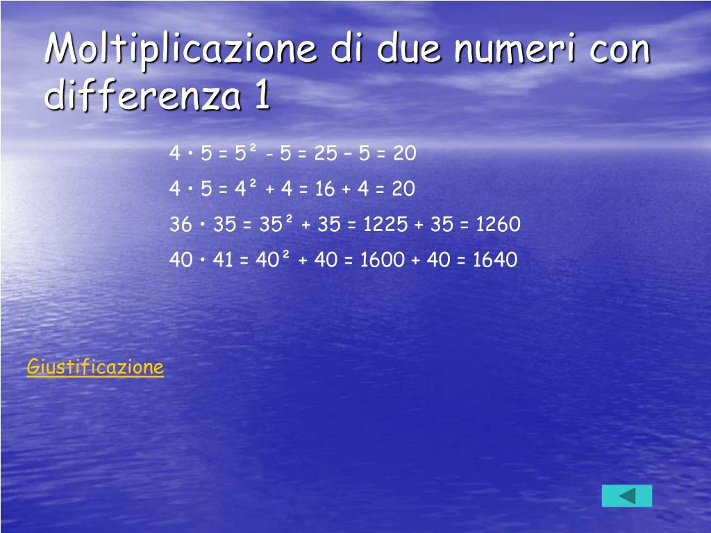 Moltiplicazione di due numeri con differenza 1