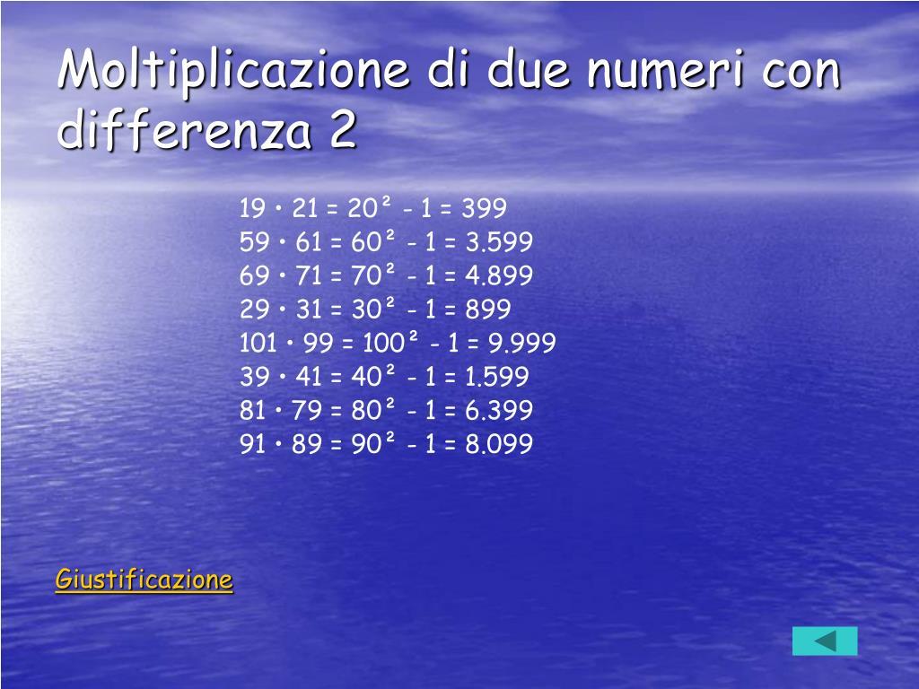 Moltiplicazione di due numeri con differenza 2