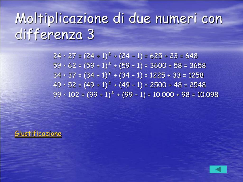 Moltiplicazione di due numeri con differenza 3