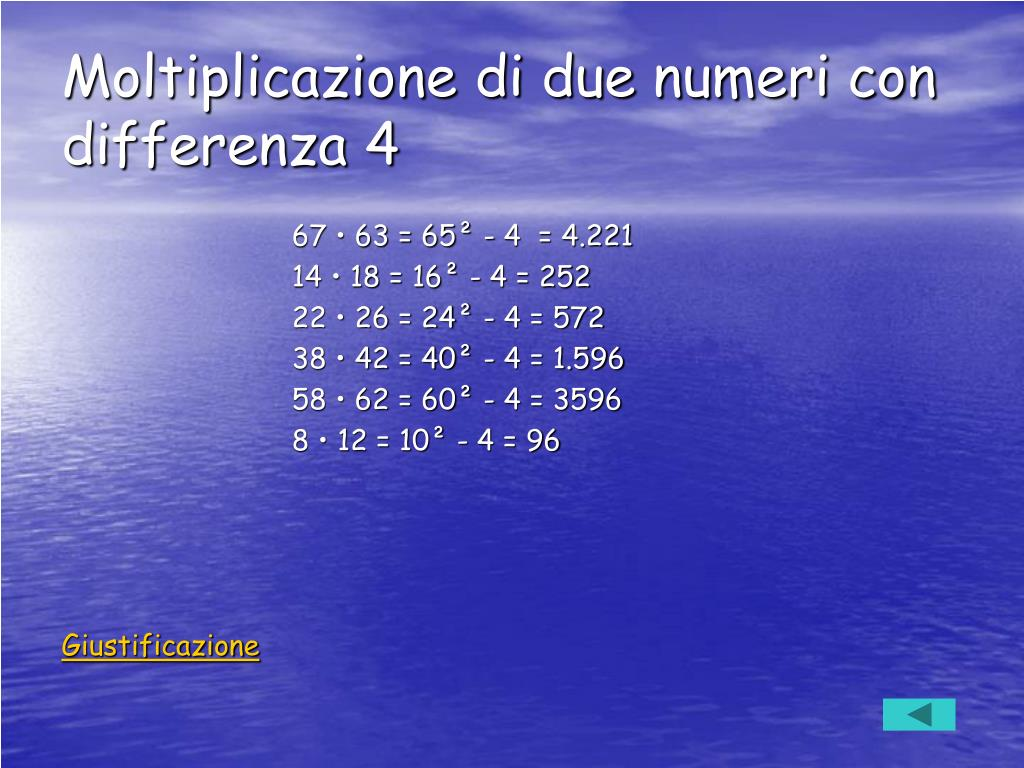 Moltiplicazione di due numeri con differenza 4