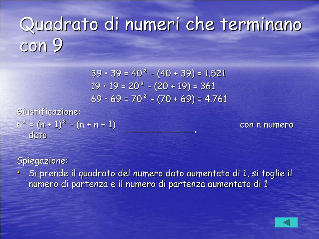 Quadrato di numeri che terminano con 9