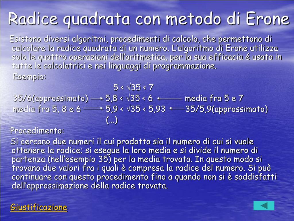 Radice quadrata con metodo di Erone