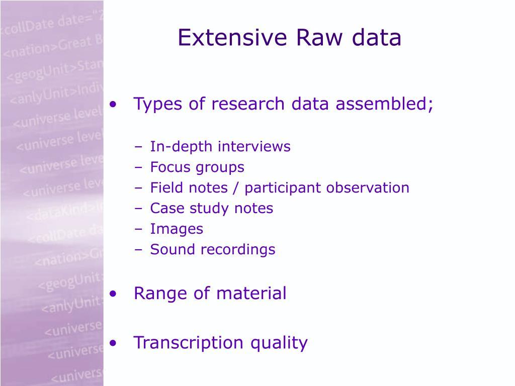 Extensive Raw data