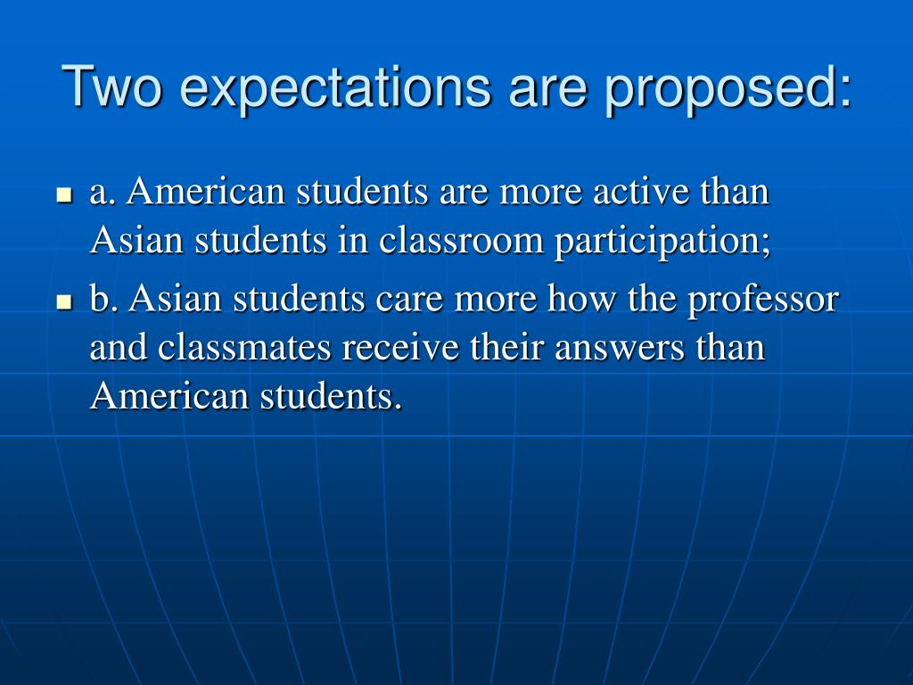Two expectations are proposed: