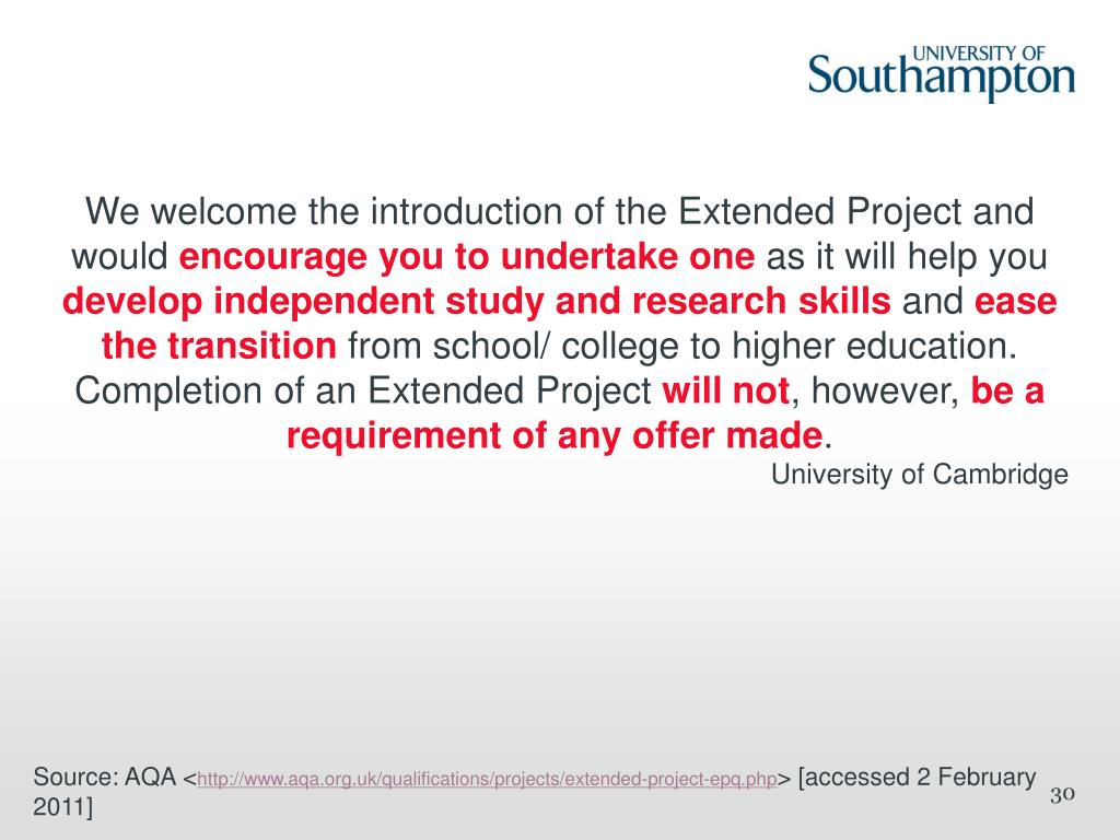 We welcome the introduction of the Extended Project and would