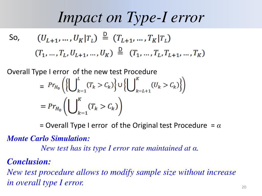 Impact on Type-I error