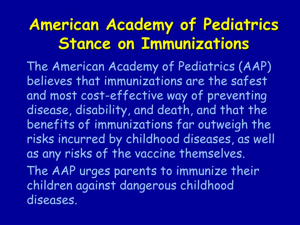 American Academy of Pediatrics Stance on Immunizations