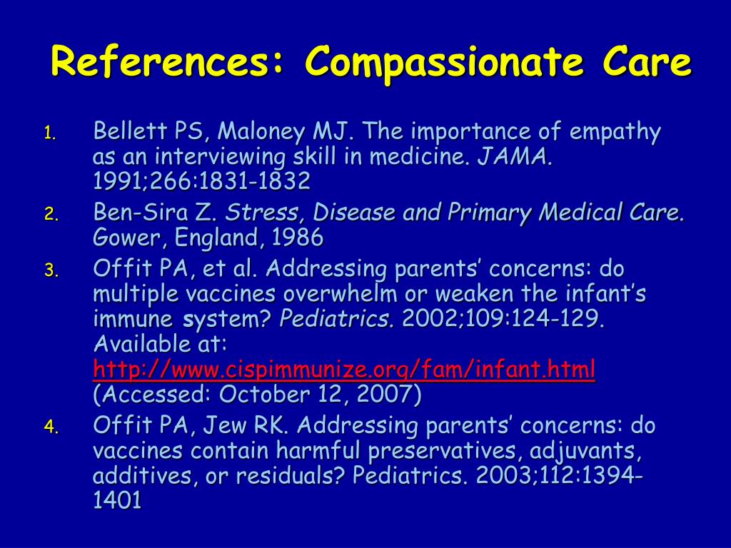 References: Compassionate Care