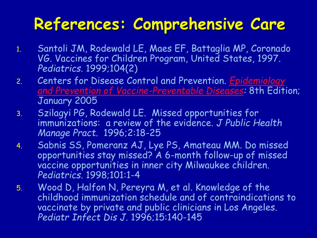 References: Comprehensive Care