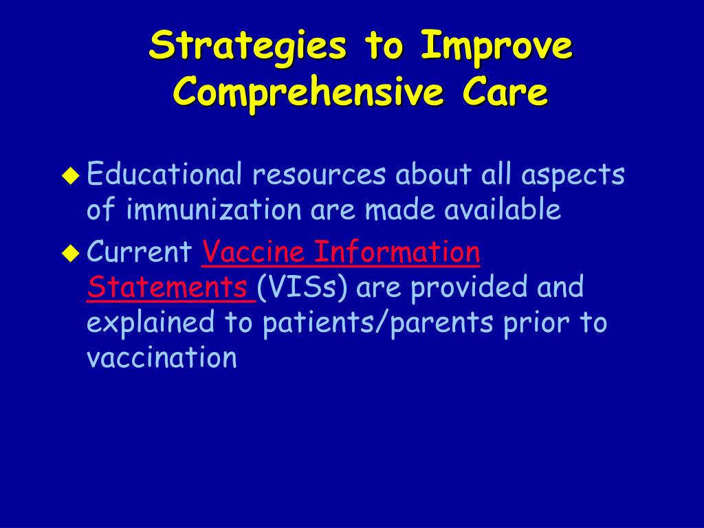 Strategies to Improve Comprehensive Care