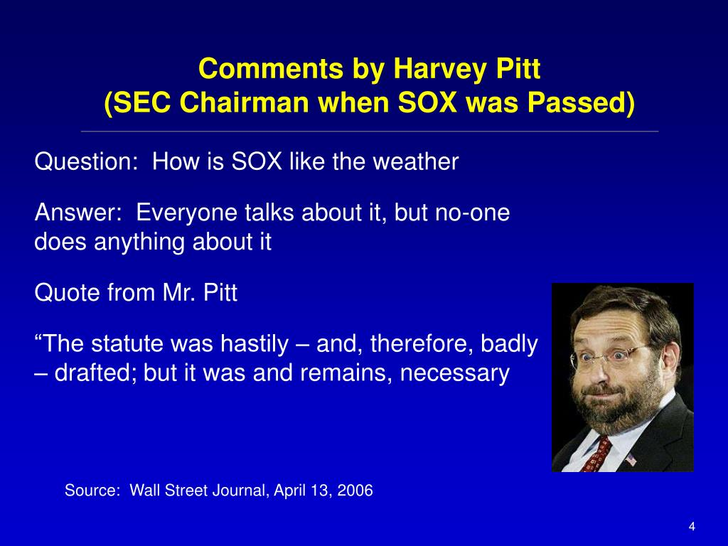 Comments by Harvey Pitt