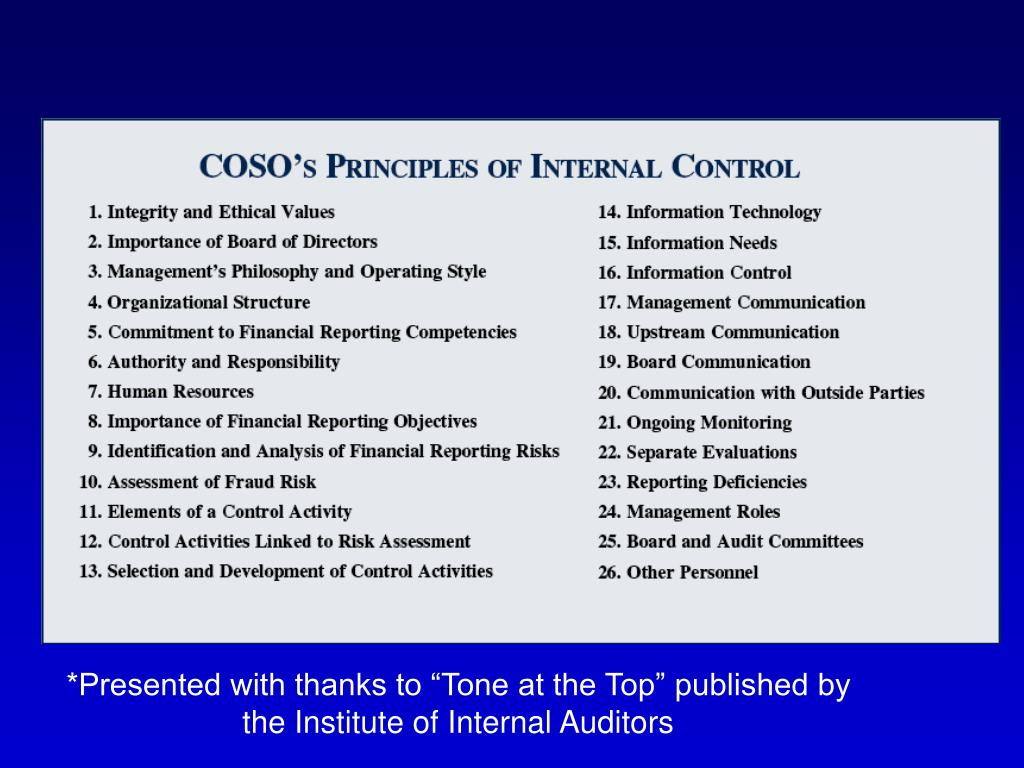 Elements of COSO Based Internal Control Structure