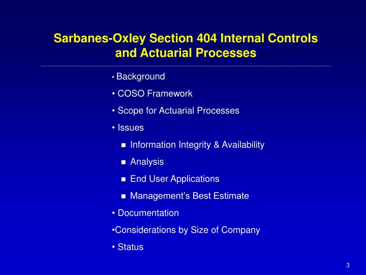 Sarbanes oxley section 404 internal controls and actuarial processes3